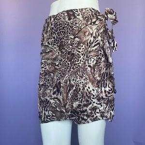 Leopard-Print Wrap Around Swim Cover-Up Skirt